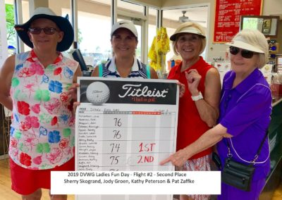 DVWG 2019 Ladies Fun Day - Flight 2. 2nd Place Sherry Skogrand. Jody Groen. Kathy Peterson. Pat Zaffke 04-24-2019