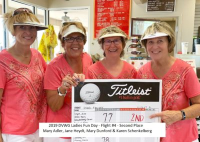 DVWG 2019 Ladies Fun Day - Flight 4. 2nd Place. Mary Adler. Jane Heydt. Mary Dunford. Karen Schenkelberg 04-21-2019