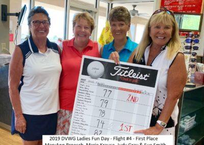 DVWG 2019 Ladies Fun Day - flight 4. 1st Place. MaryAnn Broesch. Marie Krause. Judy Gray. Sue Smith 04-21-2019